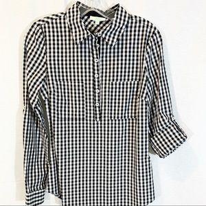 JADE Black & White Gingham Tunic Blouse XS NWT